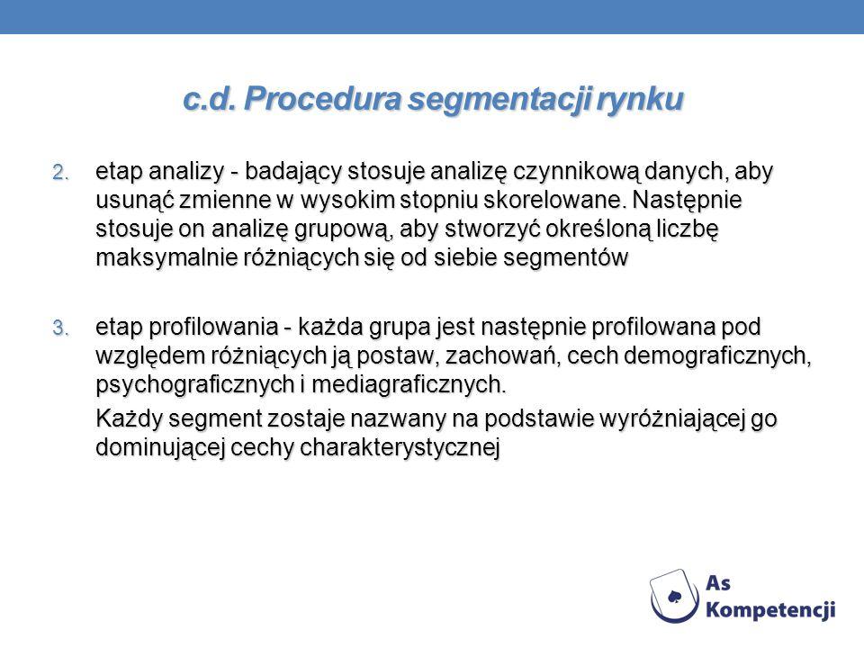 c.d. Procedura segmentacji rynku 2. etap analizy - badający stosuje analizę czynnikową danych, aby usunąć zmienne w wysokim stopniu skorelowane. Nastę