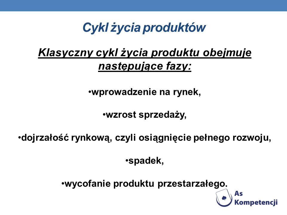 Cykl życia produktów Klasyczny cykl życia produktu obejmuje następujące fazy: wprowadzenie na rynek, wzrost sprzedaży, dojrzałość rynkową, czyli osiąg