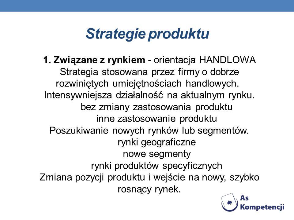 Strategie produktu 1. Związane z rynkiem - orientacja HANDLOWA Strategia stosowana przez firmy o dobrze rozwiniętych umiejętnościach handlowych. Inten
