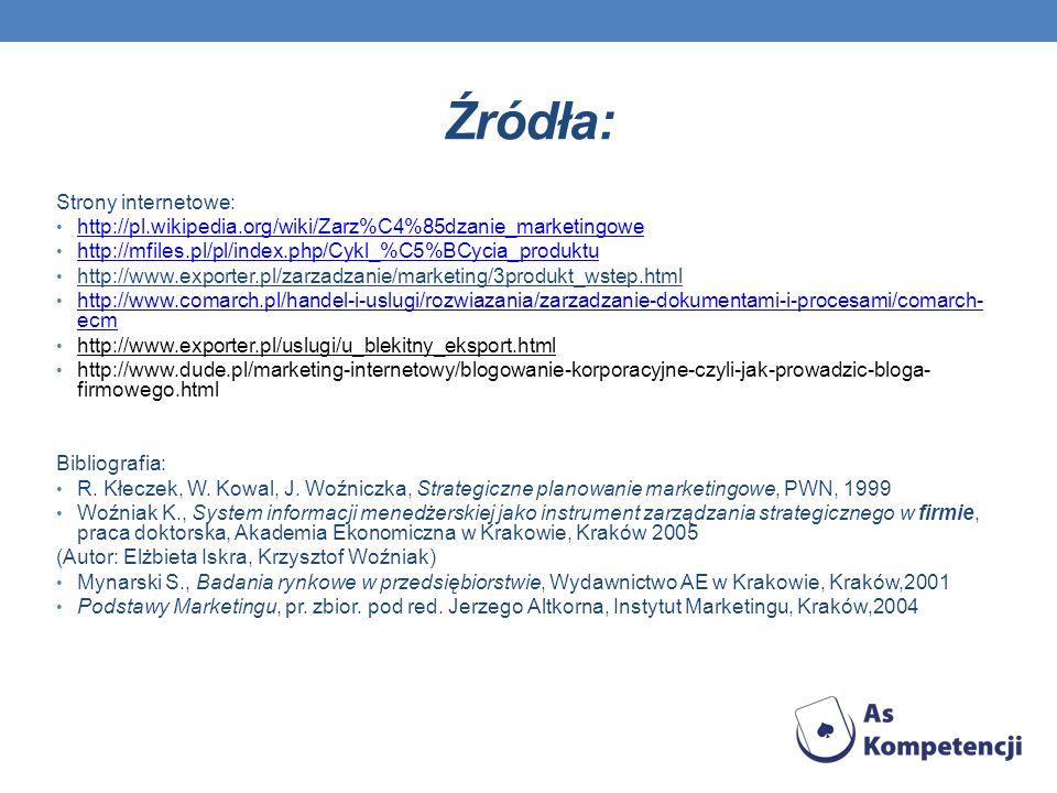 Źródła: Strony internetowe: http://pl.wikipedia.org/wiki/Zarz%C4%85dzanie_marketingowe http://mfiles.pl/pl/index.php/Cykl_%C5%BCycia_produktu http://w