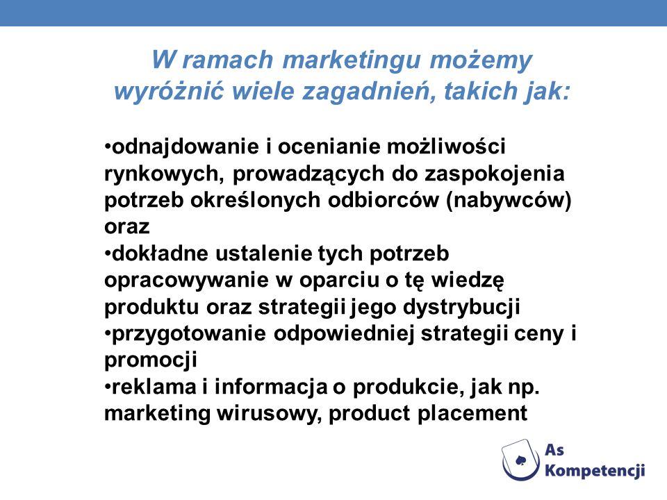 W ramach marketingu możemy wyróżnić wiele zagadnień, takich jak: odnajdowanie i ocenianie możliwości rynkowych, prowadzących do zaspokojenia potrzeb o