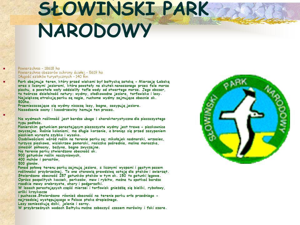 SŁOWIŃSKI PARK NARODOWY Powierzchnia - 18618 ha Powierzchnia obszarów ochrony ścisłej - 5619 ha Długość szlaków turystycznych - 140 km Park obejmuje t