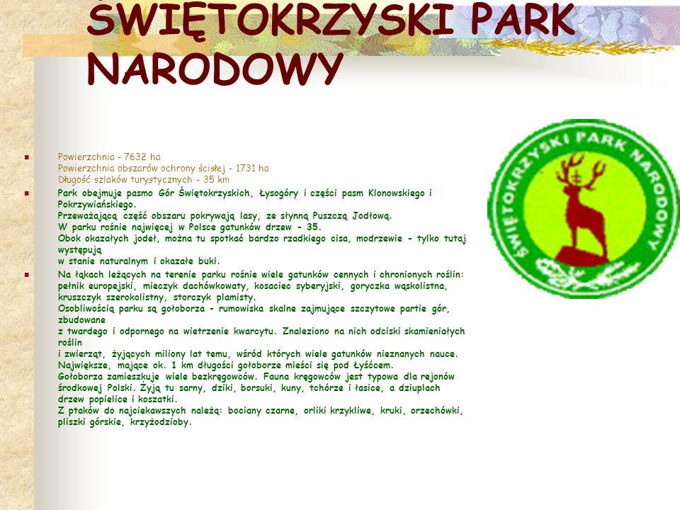 ŚWIĘTOKRZYSKI PARK NARODOWY Powierzchnia - 7632 ha Powierzchnia obszarów ochrony ścisłej - 1731 ha Długość szlaków turystycznych - 35 km Park obejmuje pasmo Gór Świętokrzyskich, Łysogóry i części pasm Klonowskiego i Pokrzywiańskiego.