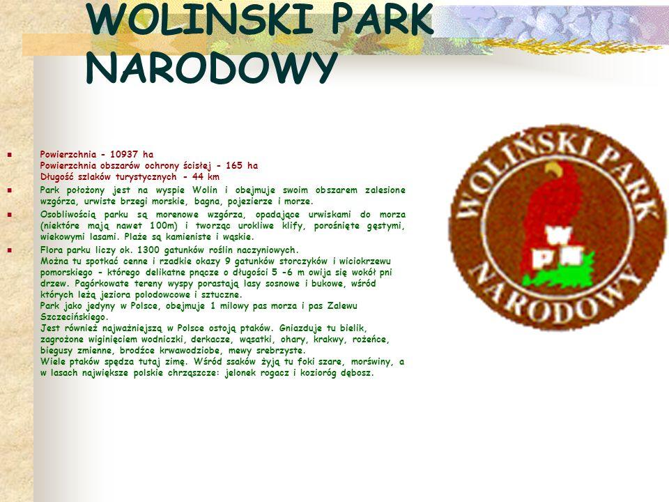 WOLIŃSKI PARK NARODOWY Powierzchnia - 10937 ha Powierzchnia obszarów ochrony ścisłej - 165 ha Długość szlaków turystycznych - 44 km Park położony jest na wyspie Wolin i obejmuje swoim obszarem zalesione wzgórza, urwiste brzegi morskie, bagna, pojezierze i morze.