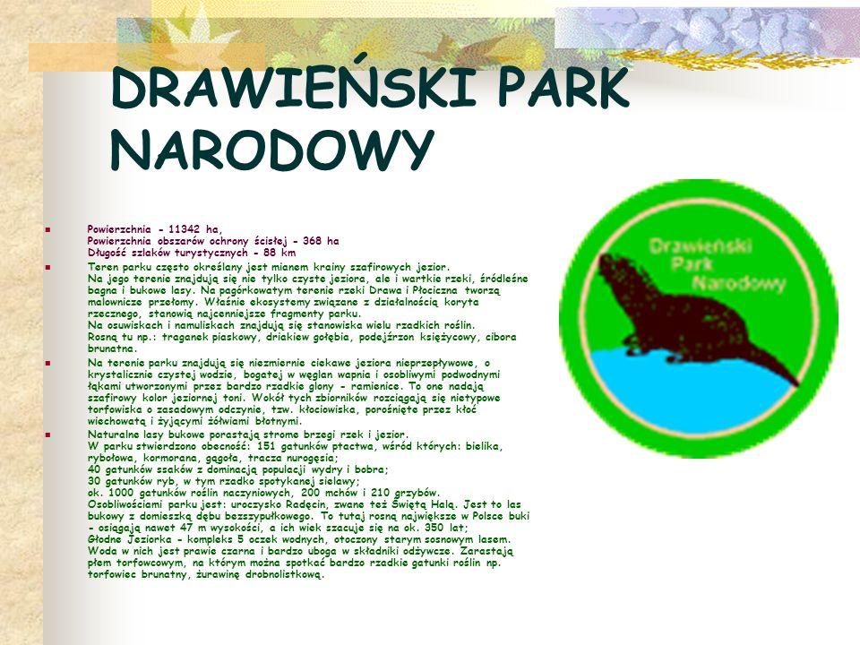 DRAWIEŃSKI PARK NARODOWY Powierzchnia - 11342 ha, Powierzchnia obszarów ochrony ścisłej - 368 ha Długość szlaków turystycznych - 88 km Teren parku czę