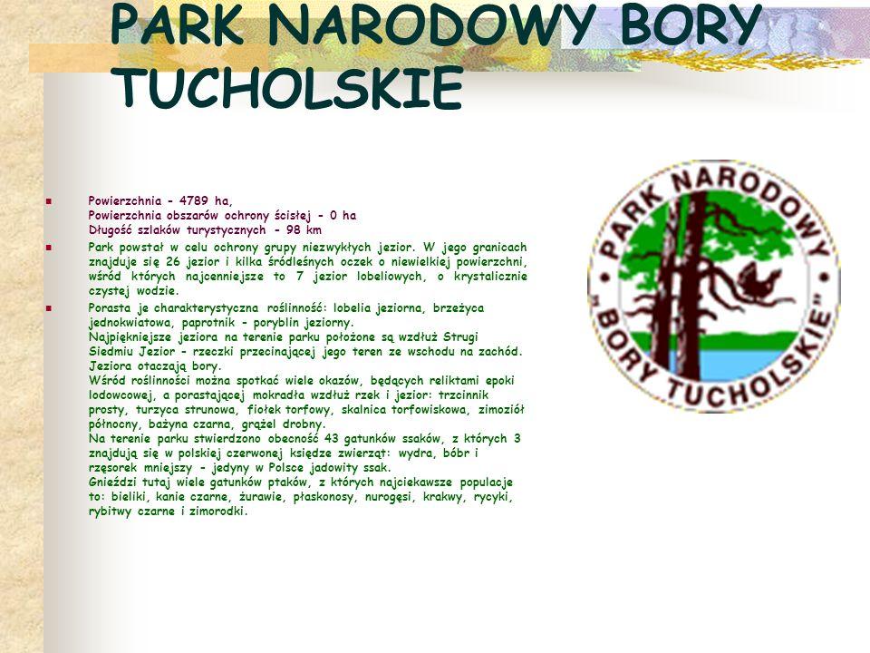 PARK NARODOWY BORY TUCHOLSKIE Powierzchnia - 4789 ha, Powierzchnia obszarów ochrony ścisłej - 0 ha Długość szlaków turystycznych - 98 km Park powstał