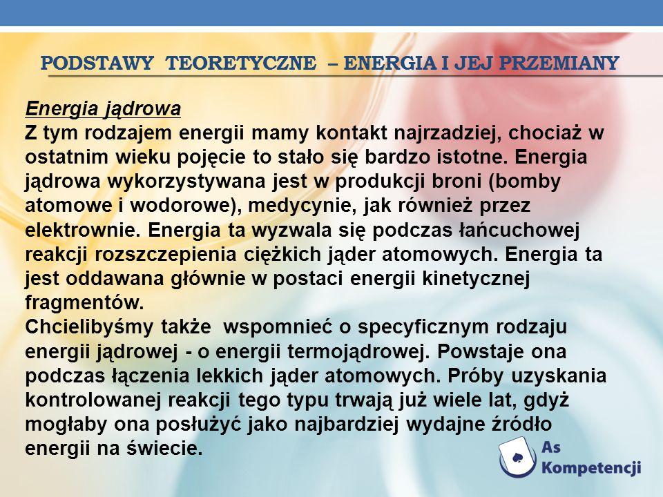 PODSTAWY TEORETYCZNE – ENERGIA I JEJ PRZEMIANY Energia jądrowa Z tym rodzajem energii mamy kontakt najrzadziej, chociaż w ostatnim wieku pojęcie to st