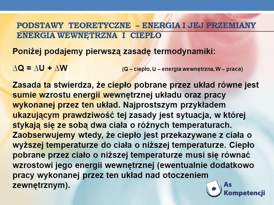 PODSTAWY TEORETYCZNE – ENERGIA I JEJ PRZEMIANY ENERGIA WEWNĘTRZNA I CIEPŁO Poniżej podajemy pierwszą zasadę termodynamiki: Q = U + W (Q – ciepło, U –