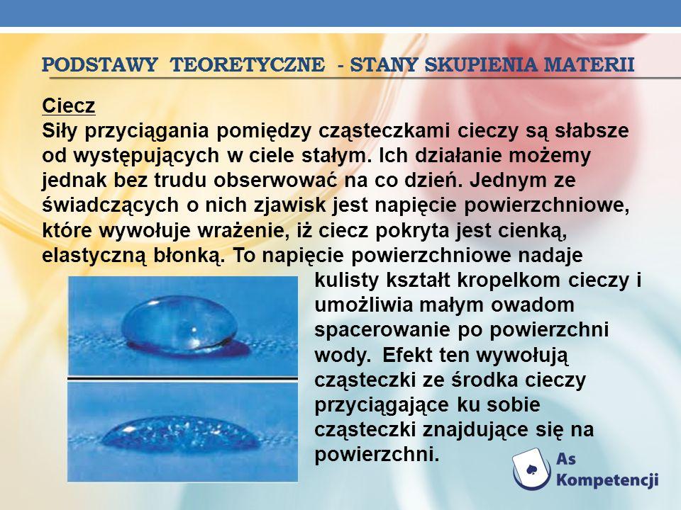 PODSTAWY TEORETYCZNE - STANY SKUPIENIA MATERII Ciecz Siły przyciągania pomiędzy cząsteczkami cieczy są słabsze od występujących w ciele stałym. Ich dz