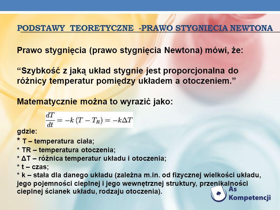 PODSTAWY TEORETYCZNE -PRAWO STYGNIĘCIA NEWTONA Prawo stygnięcia (prawo stygnięcia Newtona) mówi, że: Szybkość z jaką układ stygnie jest proporcjonalna
