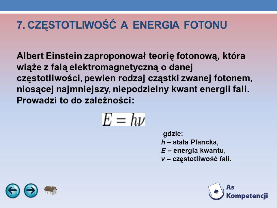 FOTONU 7. CZĘSTOTLIWOŚĆ A ENERGIA FOTONU Albert Einstein zaproponował teorię fotonową, która wiąże z falą elektromagnetyczną o danej częstotliwości, p