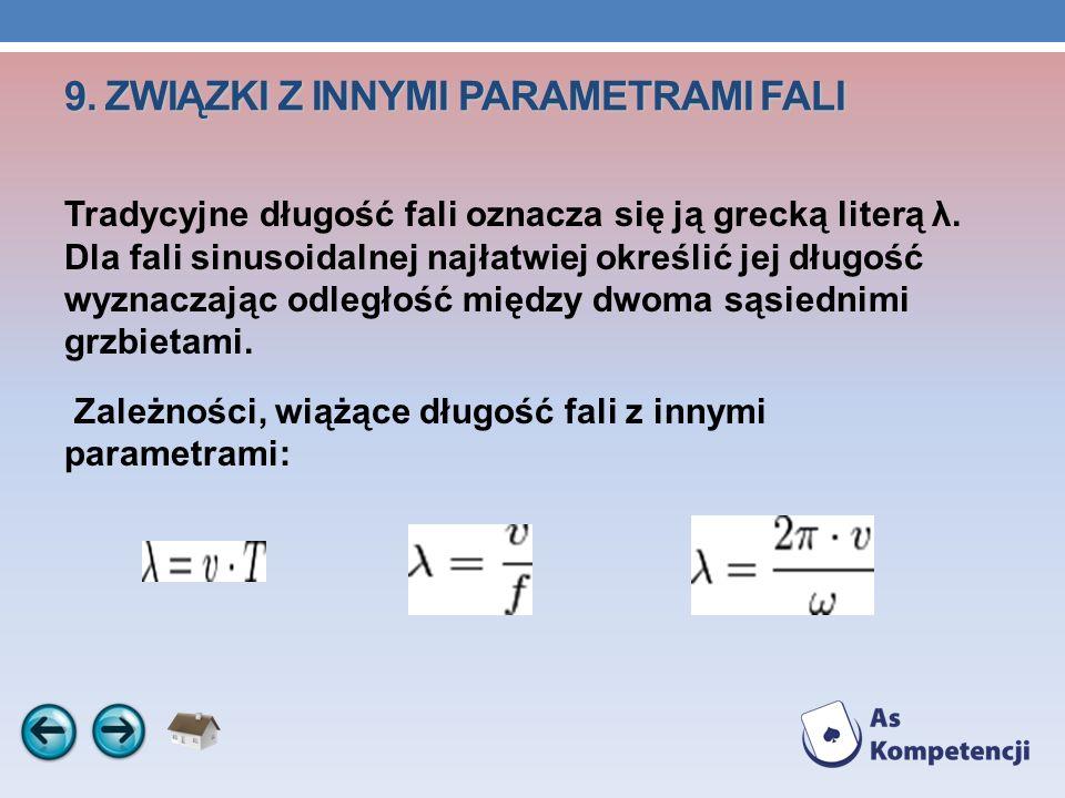 9. ZWIĄZKI Z INNYMI PARAMETRAMI FALI 9. ZWIĄZKI Z INNYMI PARAMETRAMI FALI Tradycyjne długość fali oznacza się ją grecką literą λ. Dla fali sinusoidaln
