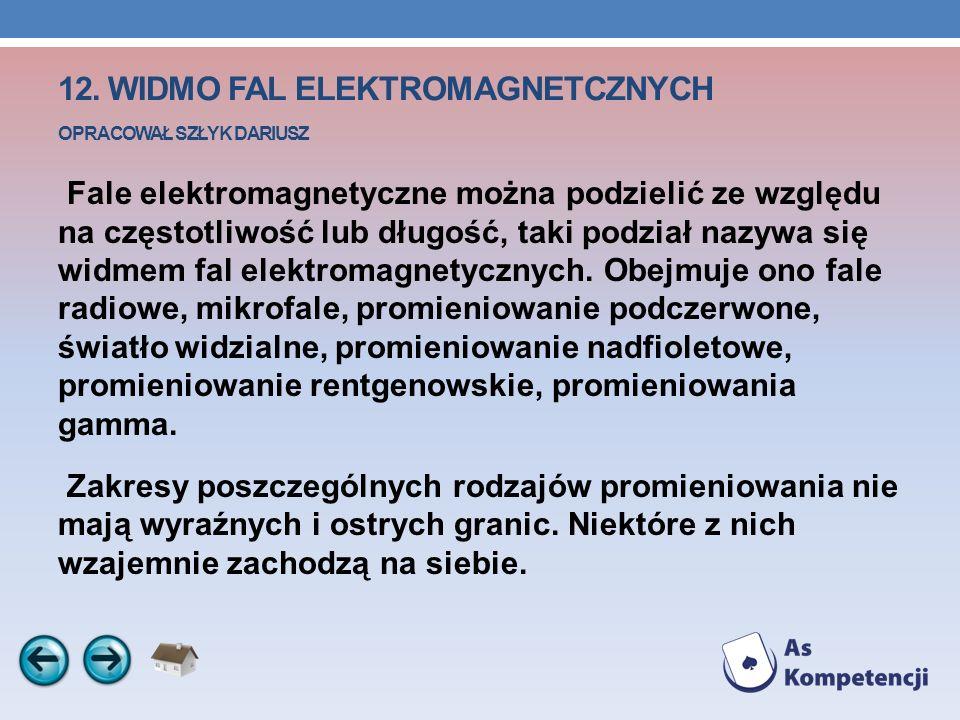 12. WIDMO FAL ELEKTROMAGNETCZNYCH OPRACOWAŁ SZŁYK DARIUSZ Fale elektromagnetyczne można podzielić ze względu na częstotliwość lub długość, taki podzia