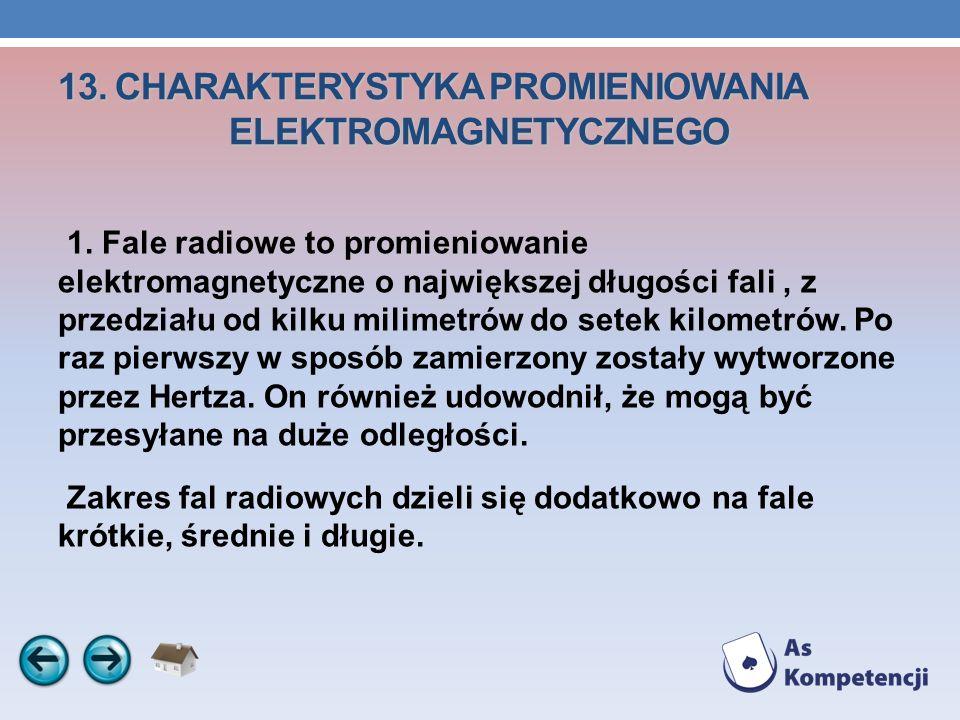 13. CHARAKTERYSTYKA PROMIENIOWANIA ELEKTROMAGNETYCZNEGO 1. Fale radiowe to promieniowanie elektromagnetyczne o największej długości fali, z przedziału