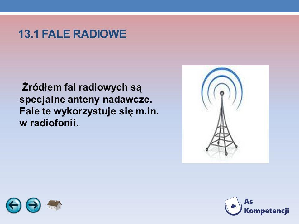 13.1 FALE RADIOWE Źródłem fal radiowych są specjalne anteny nadawcze. Fale te wykorzystuje się m.in. w radiofonii.