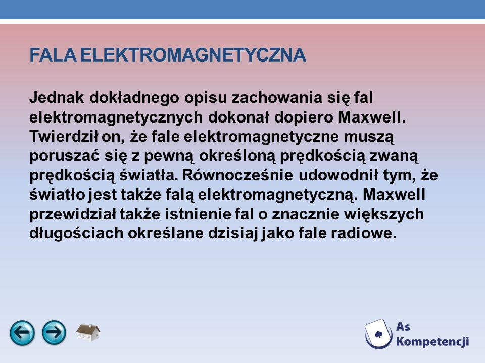FALA ELEKTROMAGNETYCZNA Jednak dokładnego opisu zachowania się fal elektromagnetycznych dokonał dopiero Maxwell. Twierdził on, że fale elektromagnetyc