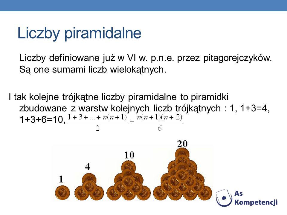Liczby piramidalne Liczby definiowane już w VI w. p.n.e. przez pitagorejczyków. Są one sumami liczb wielokątnych. I tak kolejne trójkątne liczby piram