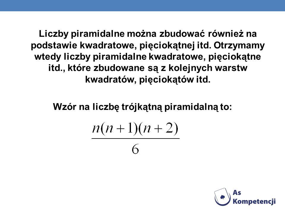 Liczby piramidalne można zbudować również na podstawie kwadratowe, pięciokątnej itd. Otrzymamy wtedy liczby piramidalne kwadratowe, pięciokątne itd.,