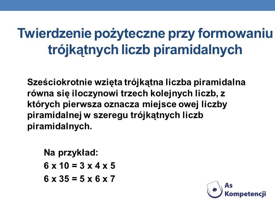 Twierdzenie pożyteczne przy formowaniu trójkątnych liczb piramidalnych Sześciokrotnie wzięta trójkątna liczba piramidalna równa się iloczynowi trzech