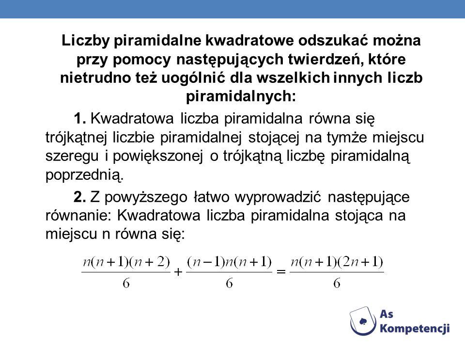 Liczby piramidalne kwadratowe odszukać można przy pomocy następujących twierdzeń, które nietrudno też uogólnić dla wszelkich innych liczb piramidalnyc