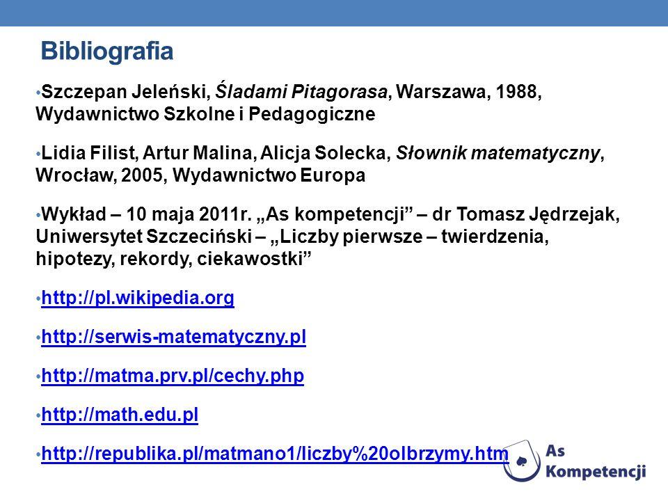 Bibliografia Szczepan Jeleński, Śladami Pitagorasa, Warszawa, 1988, Wydawnictwo Szkolne i Pedagogiczne Lidia Filist, Artur Malina, Alicja Solecka, Sło