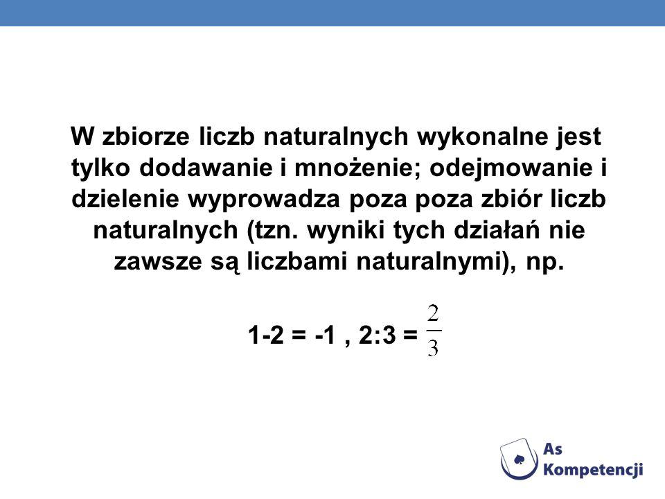W zbiorze liczb naturalnych wykonalne jest tylko dodawanie i mnożenie; odejmowanie i dzielenie wyprowadza poza poza zbiór liczb naturalnych (tzn. wyni