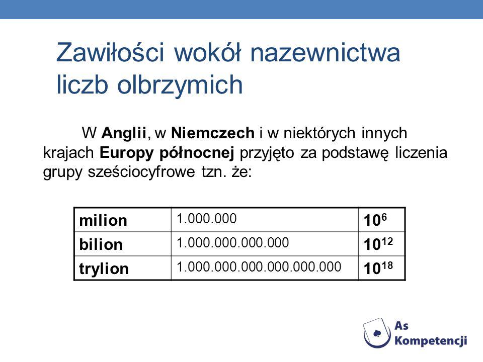 W Anglii, w Niemczech i w niektórych innych krajach Europy północnej przyjęto za podstawę liczenia grupy sześciocyfrowe tzn. że: milion 1.000.000 10 6