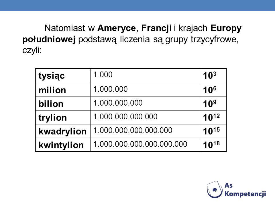 Natomiast w Ameryce, Francji i krajach Europy południowej podstawą liczenia są grupy trzycyfrowe, czyli: tysiąc 1.000 10 3 milion 1.000.000 10 6 bilio