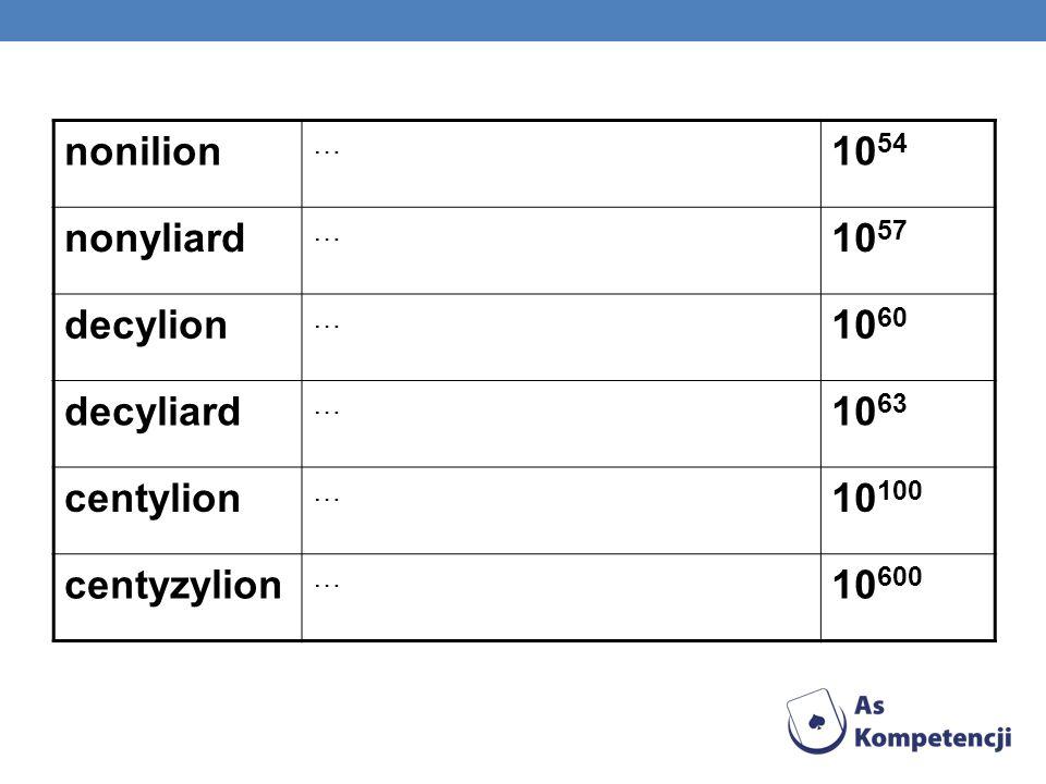 nonilion … 10 54 nonyliard … 10 57 decylion … 10 60 decyliard … 10 63 centylion … 10 100 centyzylion … 10 600