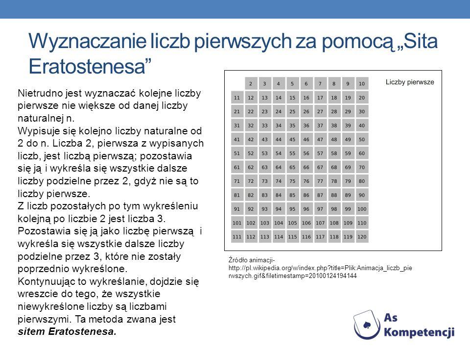 Wyznaczanie liczb pierwszych za pomocą Sita Eratostenesa Źródło animacji- http://pl.wikipedia.org/w/index.php?title=Plik:Animacja_liczb_pie rwszych.gi