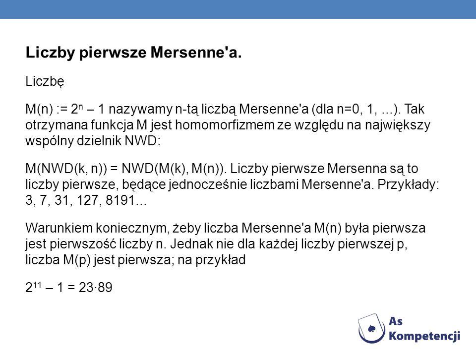 Liczby pierwsze Mersenne'a. Liczbę M(n) := 2 n – 1 nazywamy n-tą liczbą Mersenne'a (dla n=0, 1,...). Tak otrzymana funkcja M jest homomorfizmem ze wzg