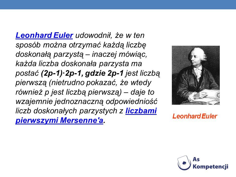 Leonhard Euler Leonhard Euler udowodnił, że w ten sposób można otrzymać każdą liczbę doskonałą parzystą – inaczej mówiąc, każda liczba doskonała parzy