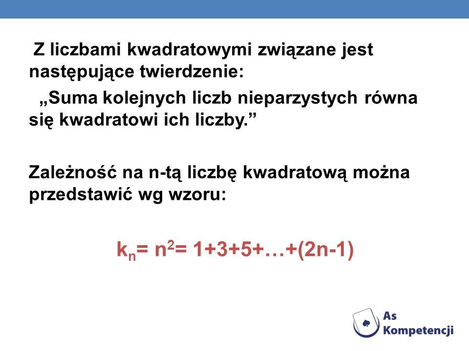 Z liczbami kwadratowymi związane jest następujące twierdzenie: Suma kolejnych liczb nieparzystych równa się kwadratowi ich liczby. Zależność na n-tą l