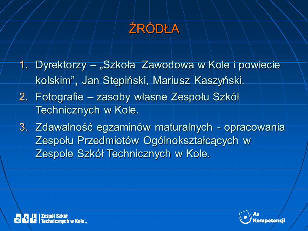 ŹRÓDŁA 1.Dyrektorzy – Szkoła Zawodowa w Kole i powiecie kolskim, Jan Stępiński, Mariusz Kaszyński.