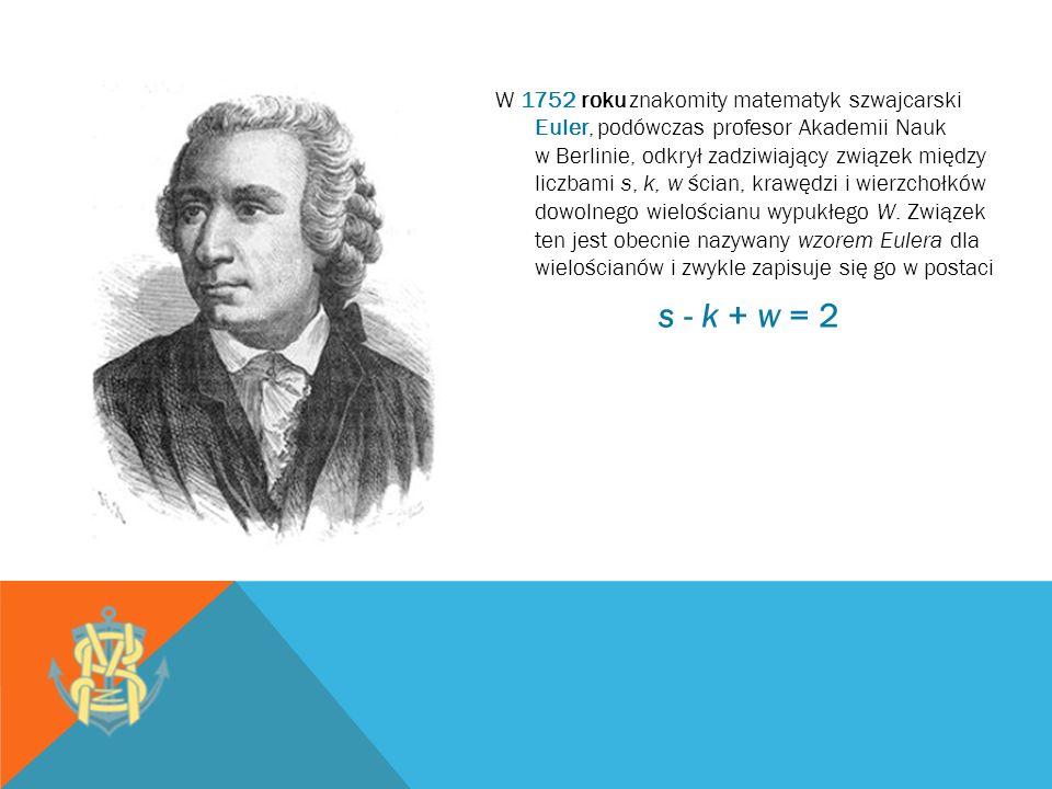 W 1752 roku znakomity matematyk szwajcarski Euler, podówczas profesor Akademii Nauk w Berlinie, odkrył zadziwiający związek między liczbami s, k, w śc
