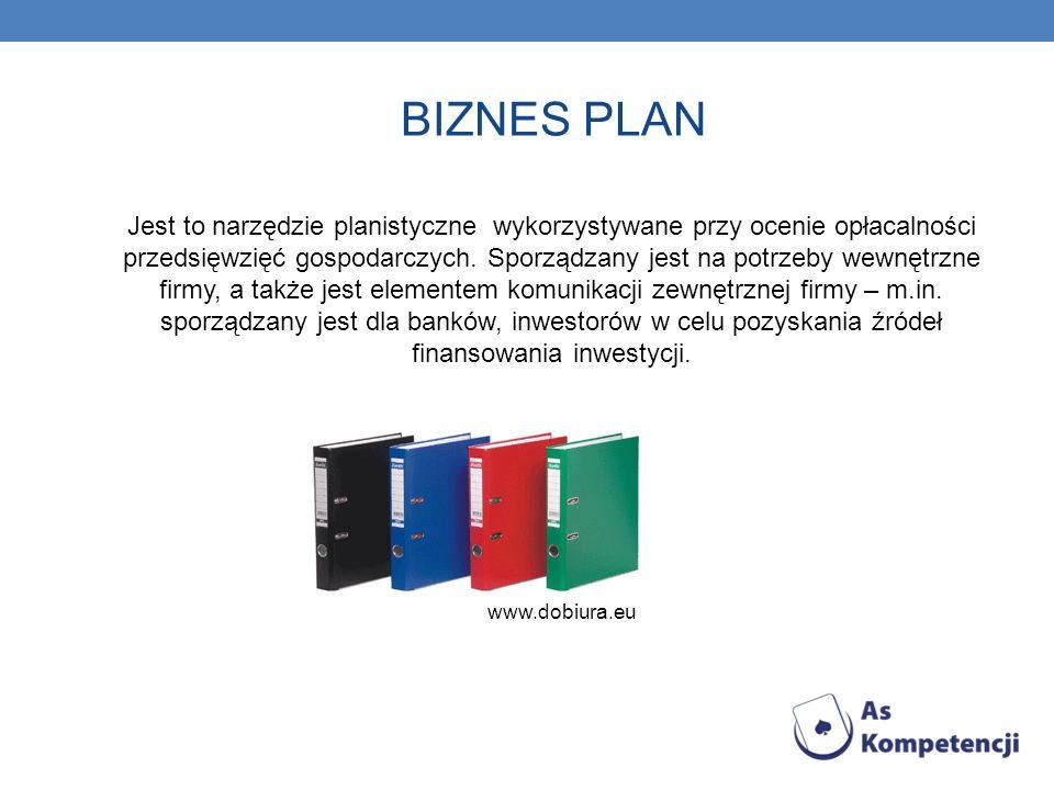 BIZNES PLAN Jest to narzędzie planistyczne wykorzystywane przy ocenie opłacalności przedsięwzięć gospodarczych. Sporządzany jest na potrzeby wewnętrzn