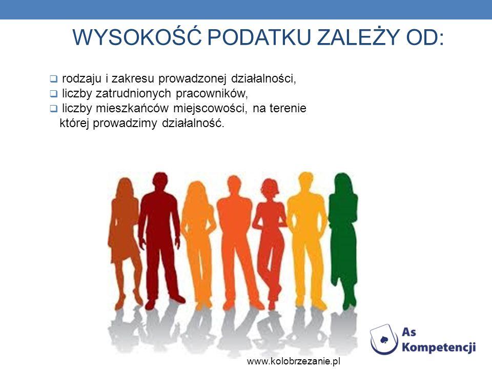 WYSOKOŚĆ PODATKU ZALEŻY OD: rodzaju i zakresu prowadzonej działalności, liczby zatrudnionych pracowników, liczby mieszkańców miejscowości, na terenie