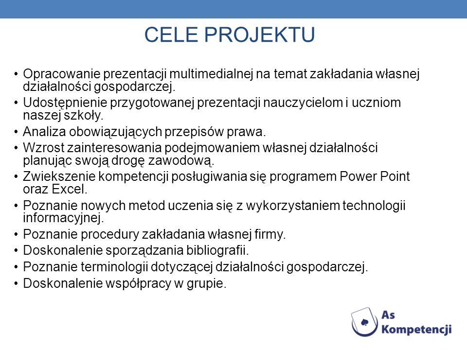 CELE PROJEKTU Opracowanie prezentacji multimedialnej na temat zakładania własnej działalności gospodarczej. Udostępnienie przygotowanej prezentacji na