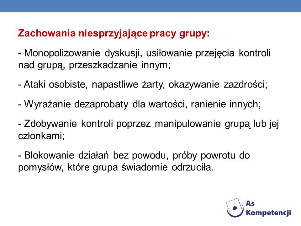 O Zachowania niesprzyjające pracy grupy: - Monopolizowanie dyskusji, usiłowanie przejęcia kontroli nad grupą, przeszkadzanie innym; - Ataki osobiste,