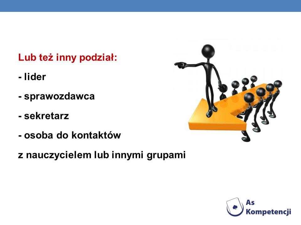 O Lub też inny podział: - lider - sprawozdawca - sekretarz - osoba do kontaktów z nauczycielem lub innymi grupami