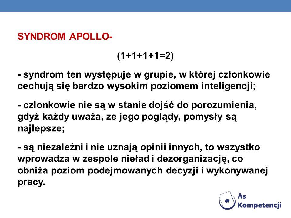 O SYNDROM APOLLO- (1+1+1+1=2) - syndrom ten występuje w grupie, w której członkowie cechują się bardzo wysokim poziomem inteligencji; - członkowie nie
