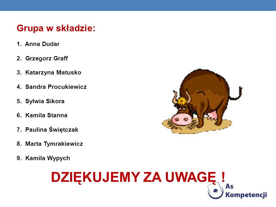 O Grupa w składzie: 1. Anna Dudar 2. Grzegorz Graff 3. Katarzyna Matusko 4. Sandra Procukiewicz 5. Sylwia Sikora 6. Kamila Stanna 7. Paulina Świętczak