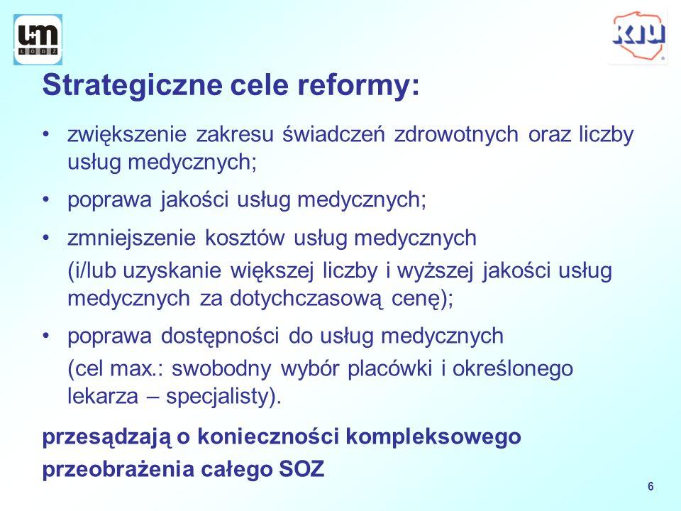Strategiczne cele reformy: zwiększenie zakresu świadczeń zdrowotnych oraz liczby usług medycznych; poprawa jakości usług medycznych; zmniejszenie kosz
