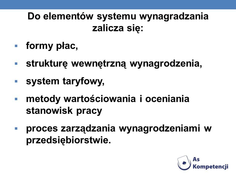 Do elementów systemu wynagradzania zalicza się: formy płac, strukturę wewnętrzną wynagrodzenia, system taryfowy, metody wartościowania i oceniania sta