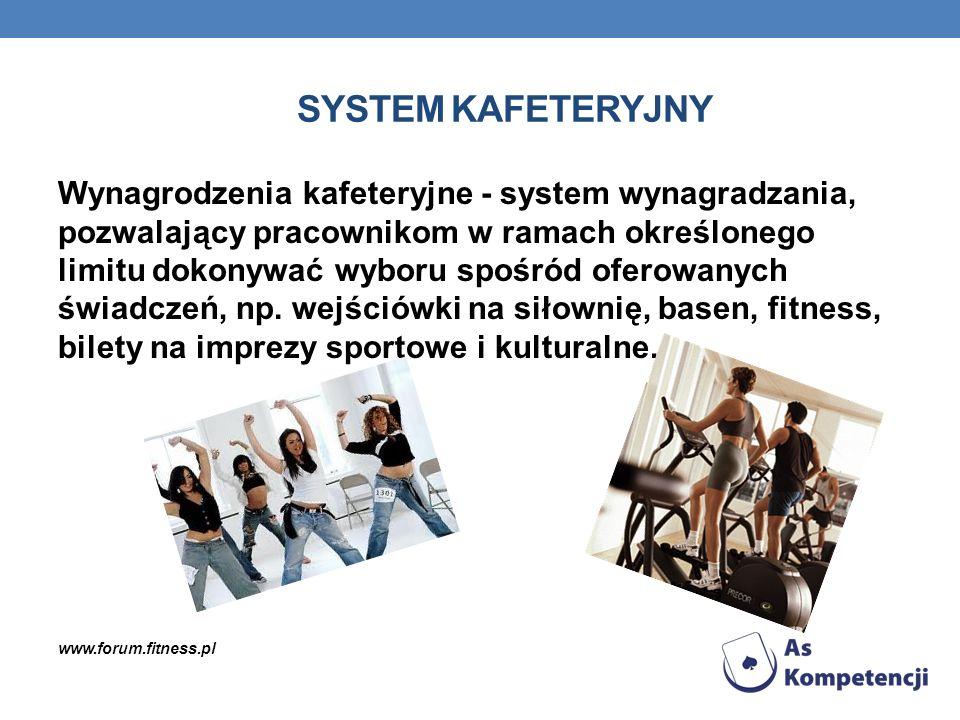 SYSTEM KAFETERYJNY Wynagrodzenia kafeteryjne - system wynagradzania, pozwalający pracownikom w ramach określonego limitu dokonywać wyboru spośród ofer
