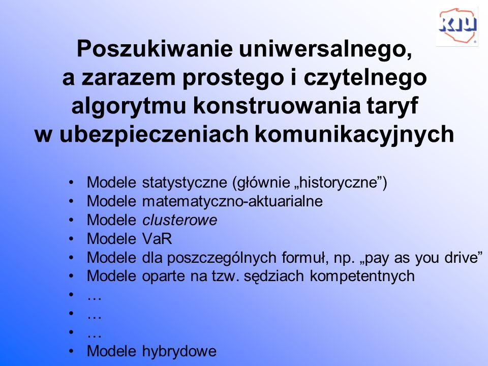 Poszukiwanie uniwersalnego, a zarazem prostego i czytelnego algorytmu konstruowania taryf w ubezpieczeniach komunikacyjnych Modele statystyczne (główn
