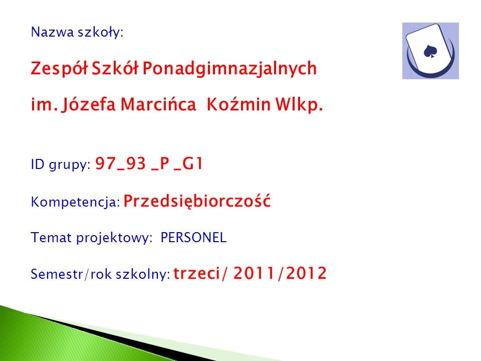 Nazwa szkoły: Zespół Szkół Ponadgimnazjalnych im. Józefa Marcińca Koźmin Wlkp. ID grupy: 97_93 _P _G1 Kompetencja: Przedsiębiorczość Temat projektowy: