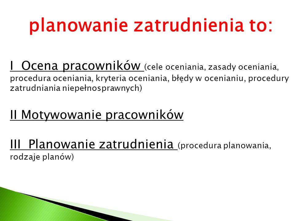 planowanie zatrudnienia to: I Ocena pracowników (cele oceniania, zasady oceniania, procedura oceniania, kryteria oceniania, błędy w ocenianiu, procedu