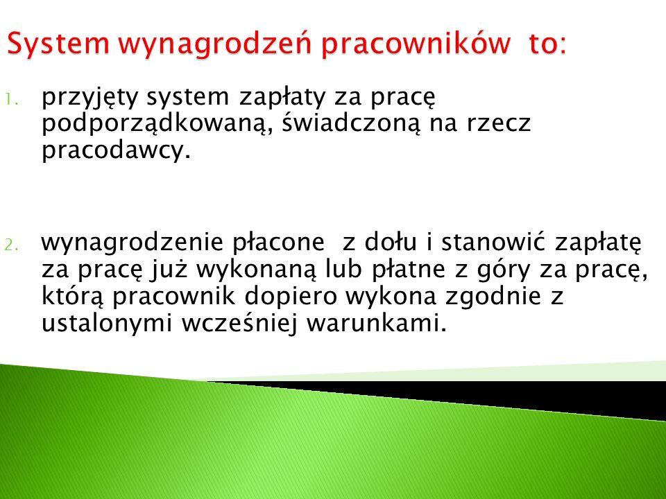 1. przyjęty system zapłaty za pracę podporządkowaną, świadczoną na rzecz pracodawcy. 2. wynagrodzenie płacone z dołu i stanowić zapłatę za pracę już w