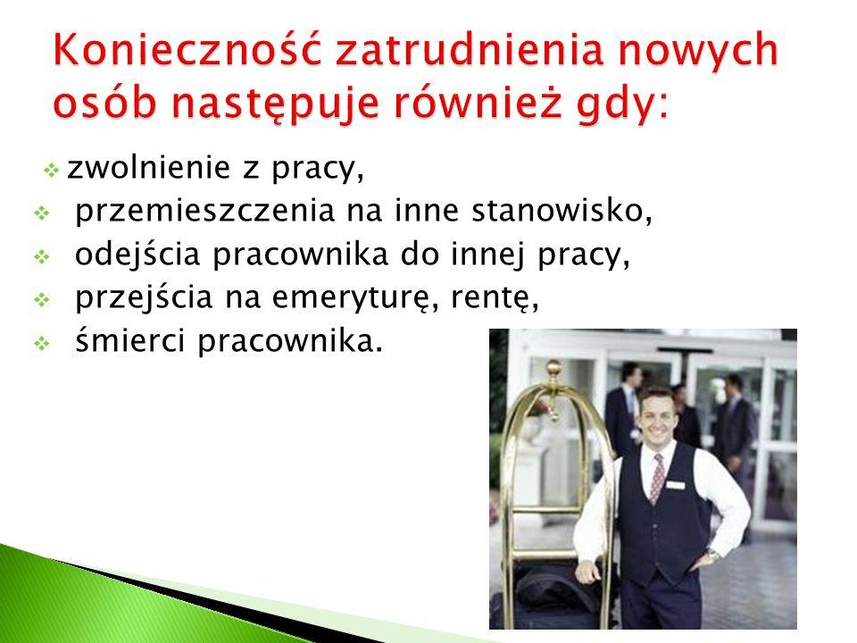 zwolnienie z pracy, przemieszczenia na inne stanowisko, odejścia pracownika do innej pracy, przejścia na emeryturę, rentę, śmierci pracownika.
